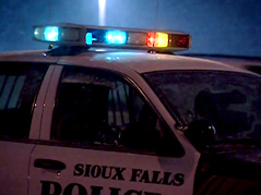 slippery conditions \ accident \ icy conditions \ icy roads \ snowy roads \ snowy conditions \ accidents \ sioux falls police department \ police car in the snow \ police light bar \ winter police