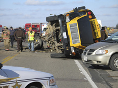 bus crash \ bus accident near cottonwood, mn  **MUST COURTESY: Marshall Independent**