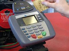 credit debit card machine gas station shop n cart swipe