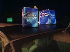 drunk driving beer carton boxes on car sobriety check