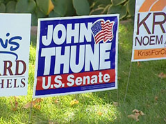 political signs election campaign 2010 yard dennis daugaard john thune kristi noem
