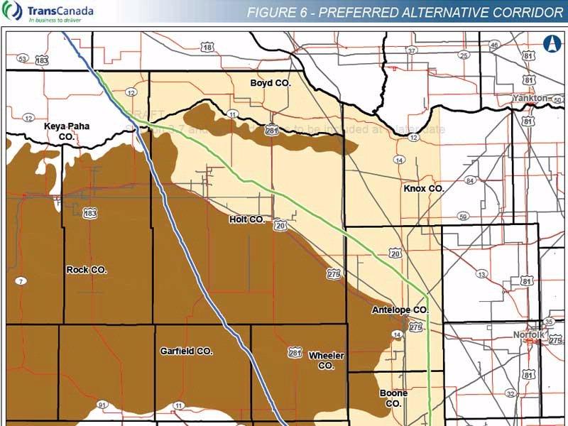 proposed new route for keystone xl in nebraska