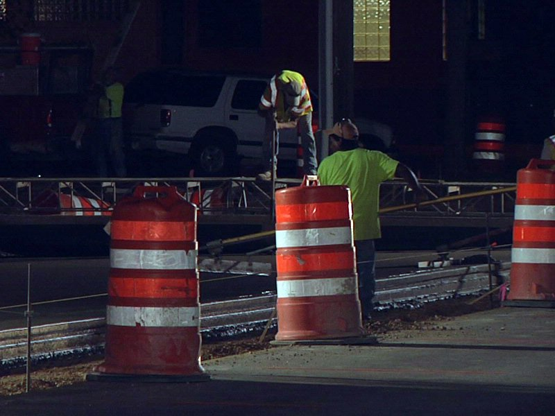 14th street construction crews work overnight to repair intersection at Phillips