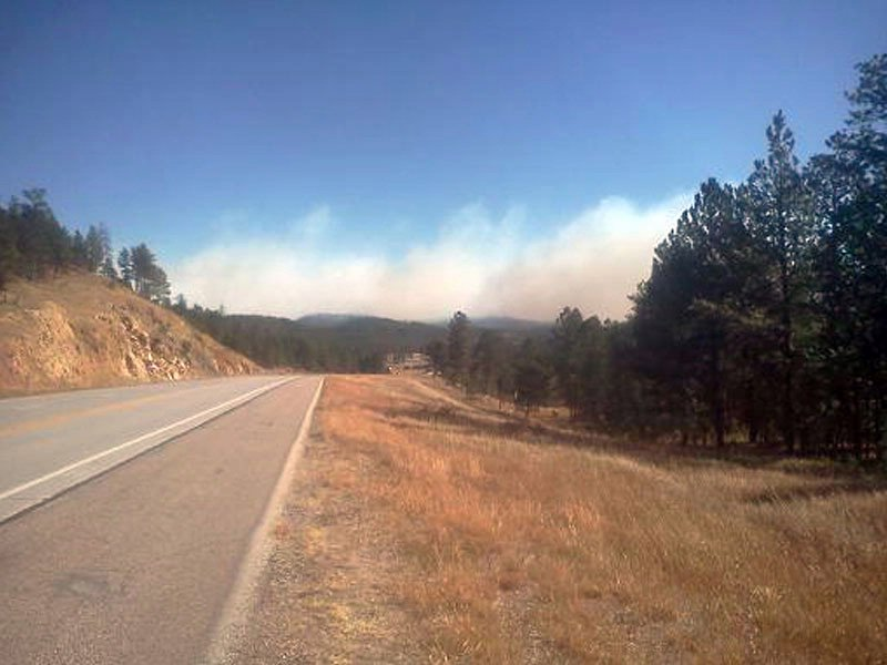 danby park fire near custer state park black hills windy conditions