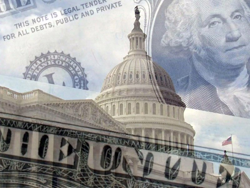congress money washington finances government budget money with US capitol