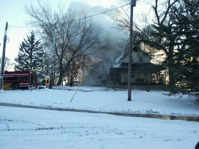 house fire near garretson flames coming from home when crews arrived people inside got out safely