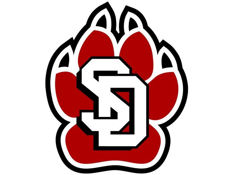 University of South Dakota logo paw print USD