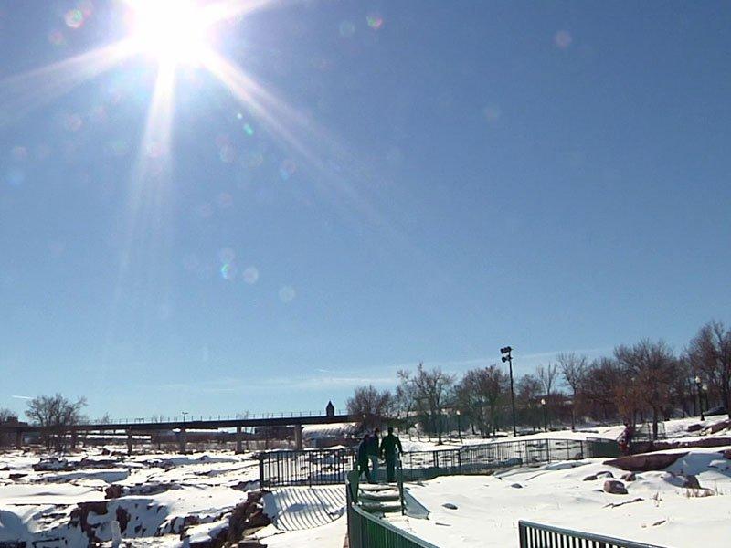 sunny day february falls park winter warm
