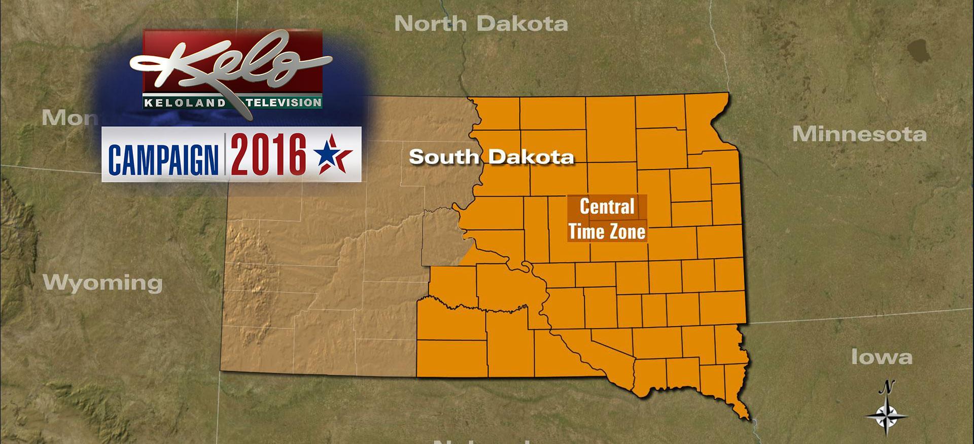 Voting Wraps Up In Eastern South Dakota - Time zone map south dakota