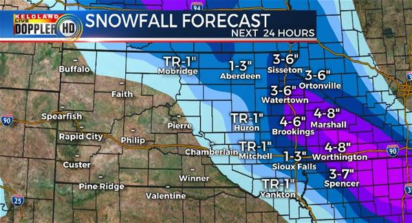 Snowfall forecast South Dakota weather