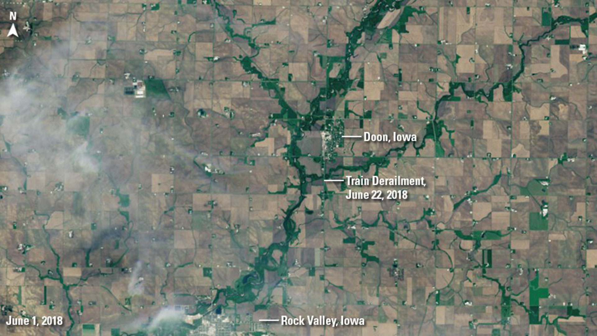 EROS images Doon Iowa before flooding