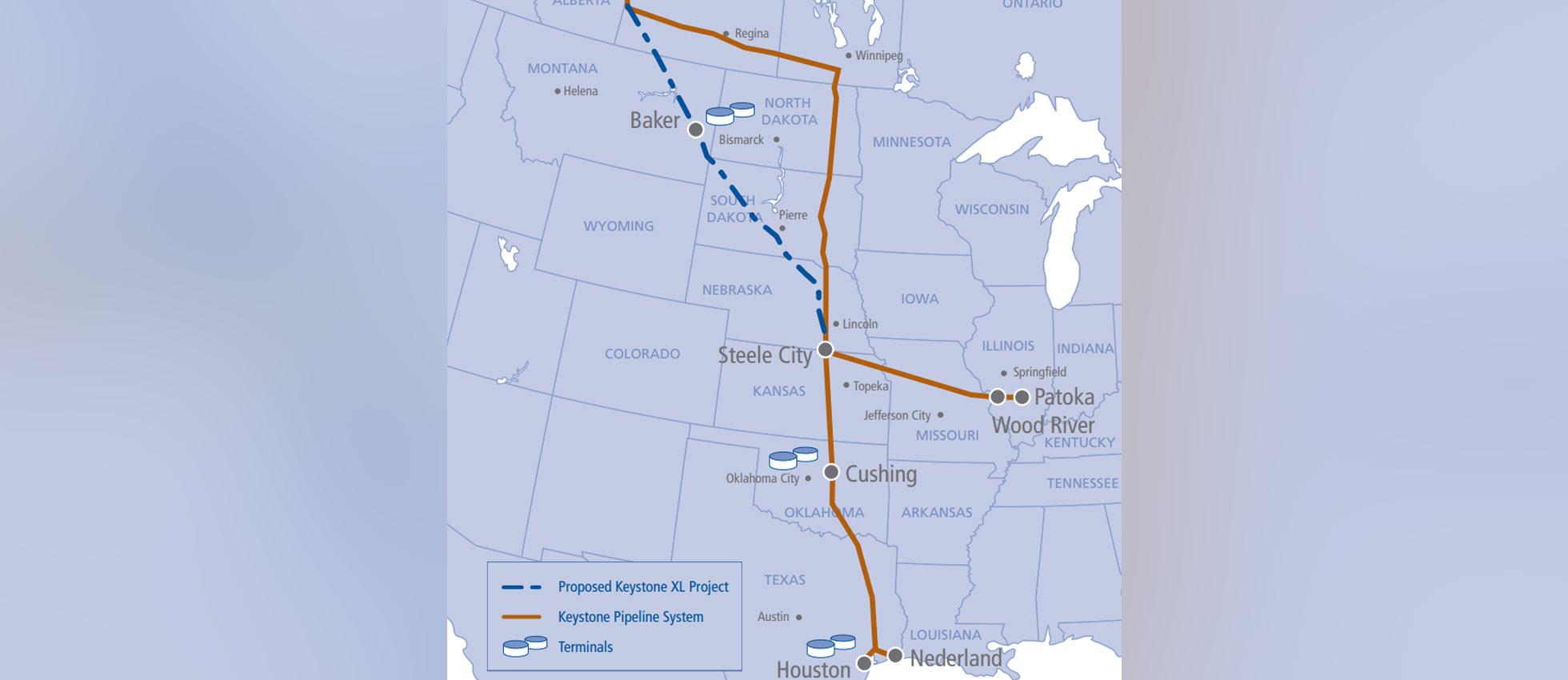 Keystone XL map from Transcanada