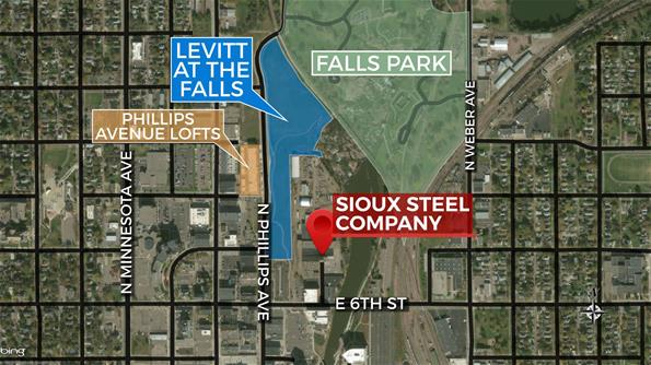 Sioux Steel Map downtown Sioux Falls