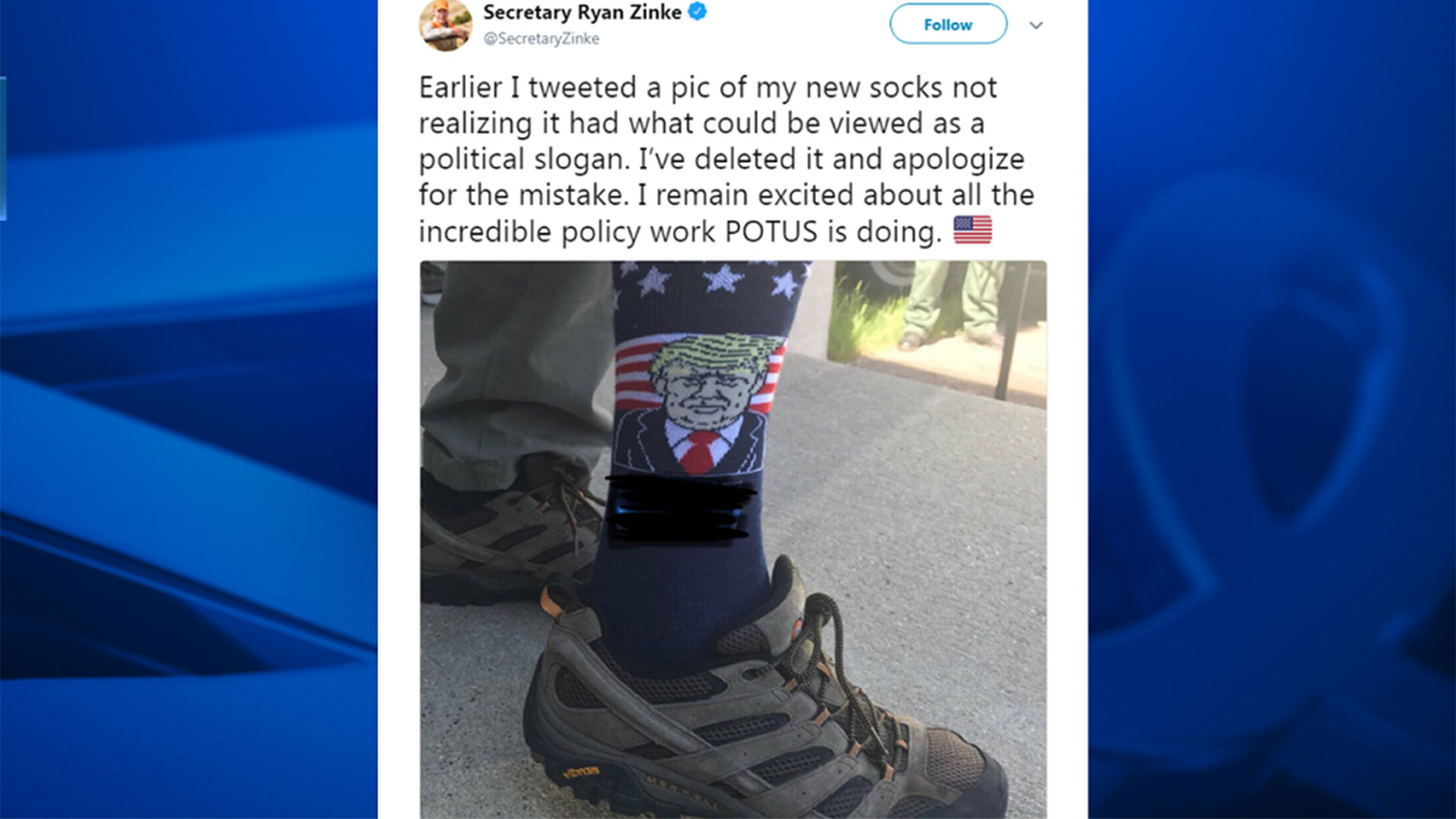Zinke socks Tweet at Mount Rushmore