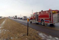 Fire crews on the way to the crash scene