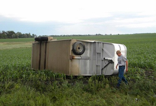 Storm damages trailer in Peever