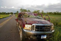 Storm damage to a truck in Peever
