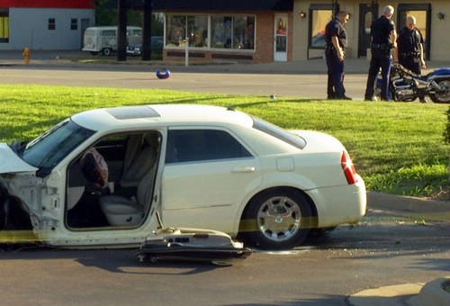 Police say the driver of this car was texting