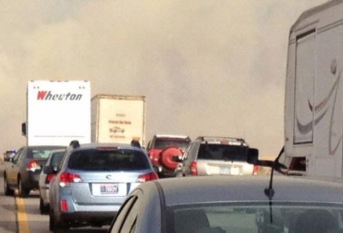 Backed up traffic on I-90