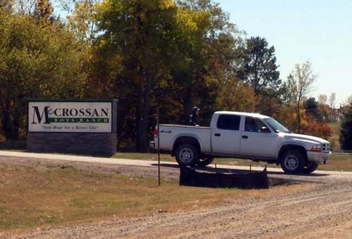 Blocking the entrance at McCrossan Boys Ranch