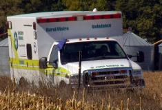 An ambulance is on the scene