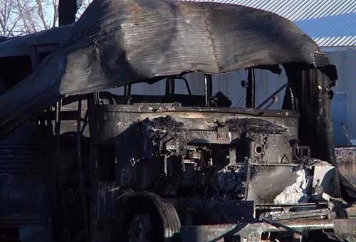 One of the destroyed school buses
