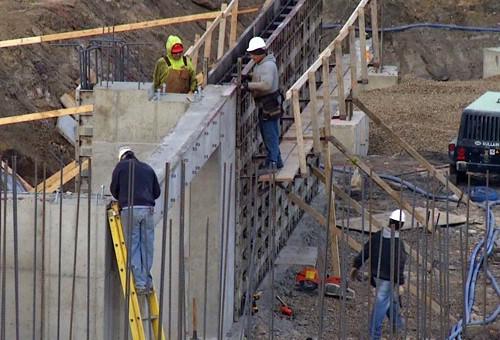 Construction crews work on hotel