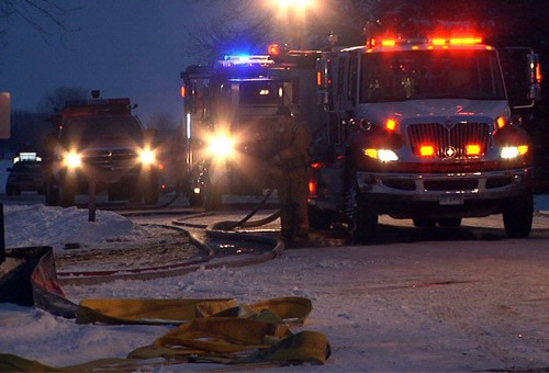 Fire trucks report to the scene.