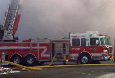One of the seven fire trucks