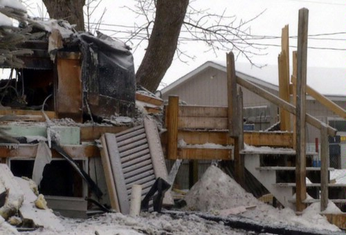 Stairs that led up to house still standing