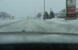 Snow along 26th Street in Sioux Falls