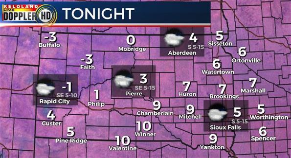 Monday night South Dakota weather