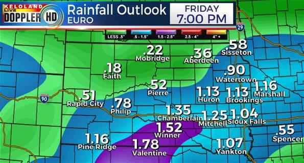 Rainfall forecast South Dakota