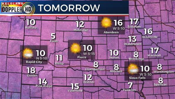 Saturday South Dakota weather forecast