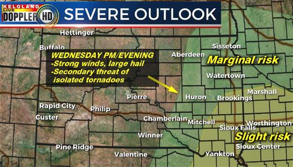 Severe weather outlook forecast Wednesday South Dakota