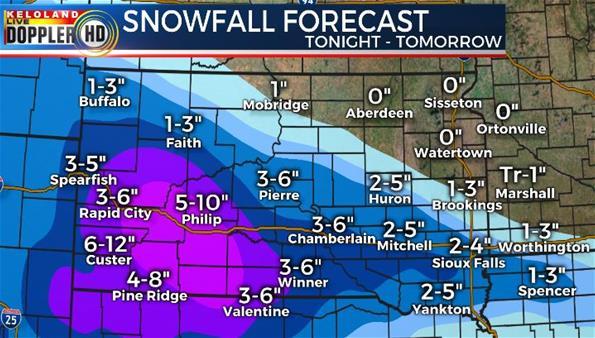 Snowfall forecast South Dakota weather