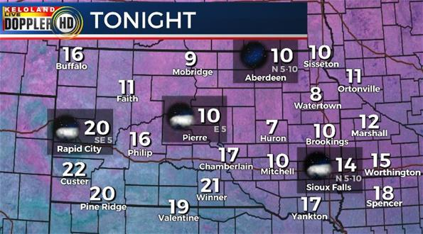 South Dakota weather forecast temperatures