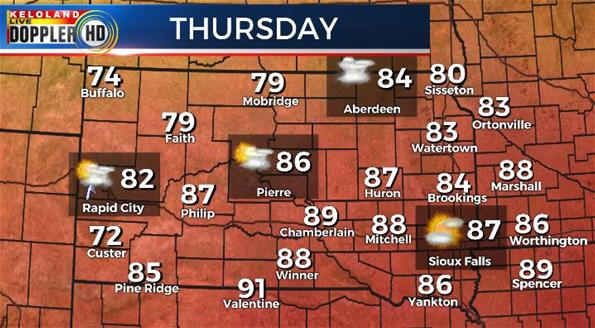 Thursday South Dakota weather forecast temperatures