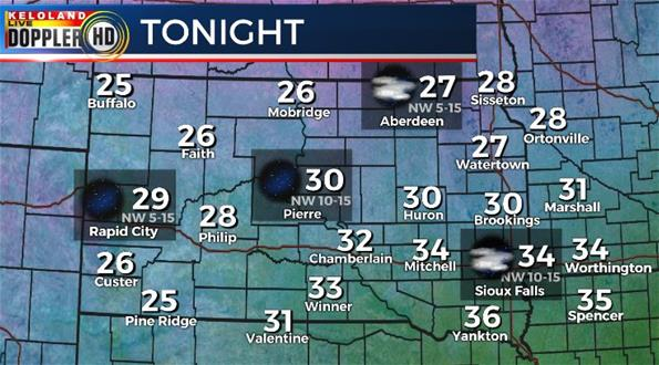 Tuesday night South Dakota weather forecast
