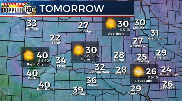 Tuesday South Dakota weather forecast