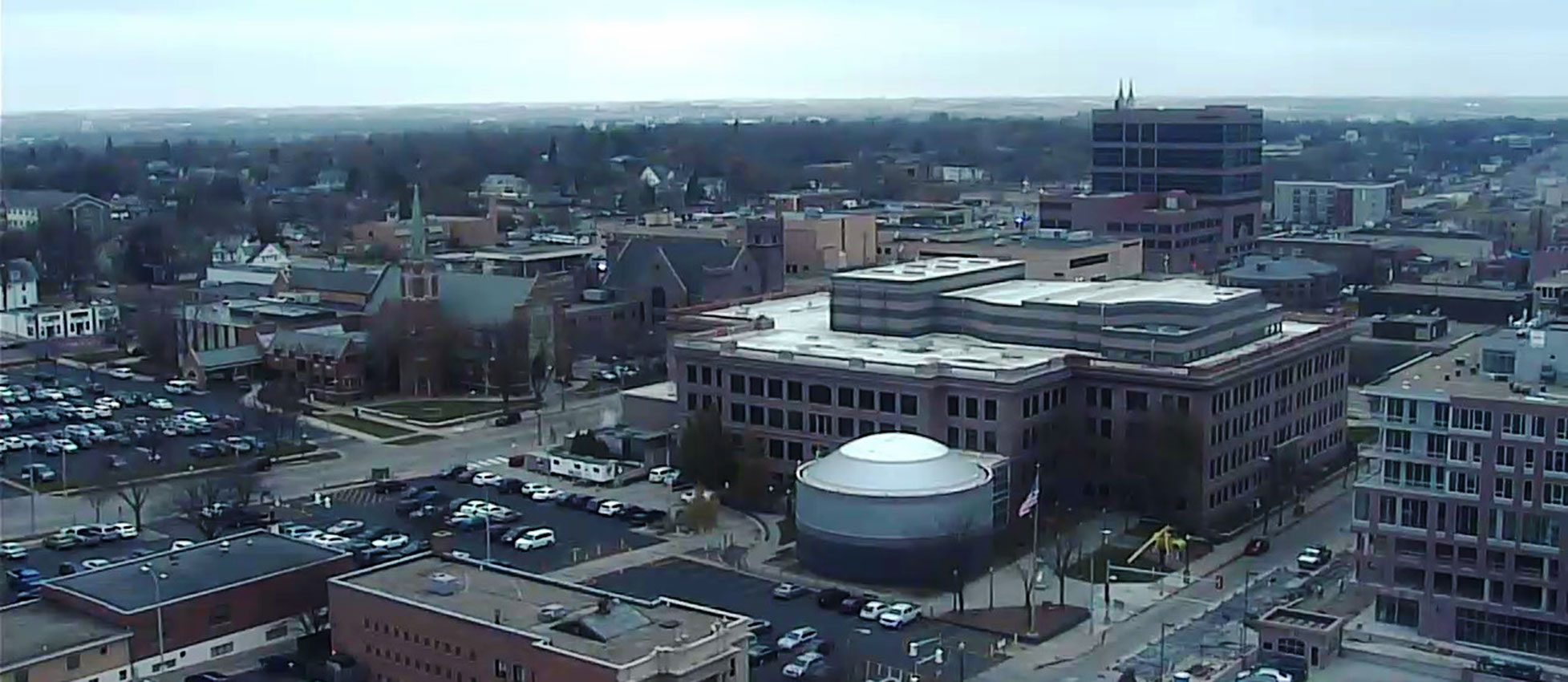 downtown Sioux Falls skyline skycam
