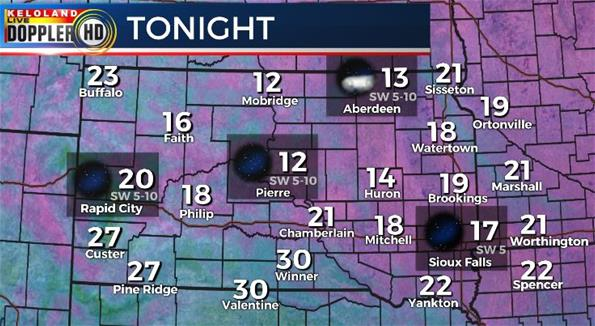 South Dakota weather Tuesday night
