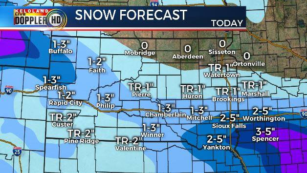 Morning Snow Travels Across South Dakota